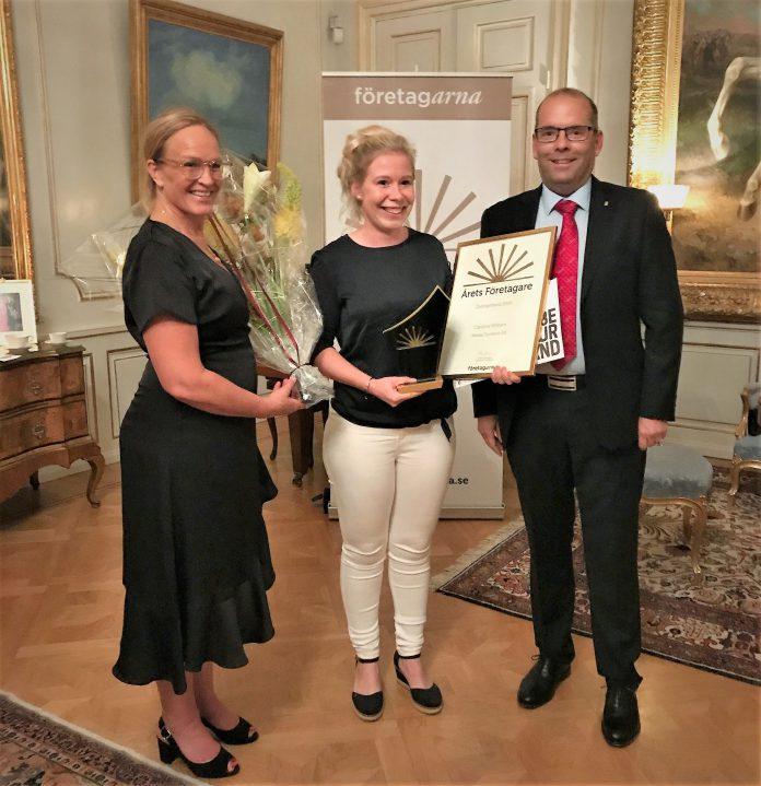Frida Boklund, Caroline William och Carl Fredrik Graf vid prisutdelningen på slottet.